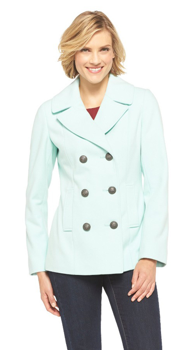 Soft Aqua Double Breasted Peacoat