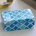 Turquoise Moroccan Pattern Bone Box