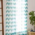 Turquoise Geo Chevron Gauze Curtain