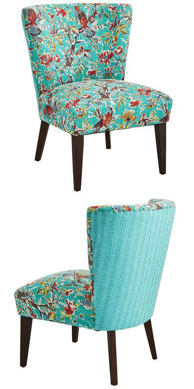 Bird Fabric Chair Kantha Bird Blue Nisha Chair