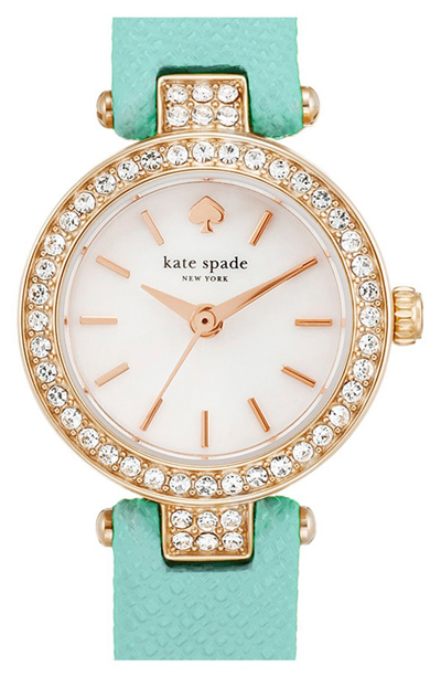 Kate Spade Tiny Metro Crystal Bezel Leather Strap Watch