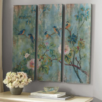 Bird & Branch Triptych Panels
