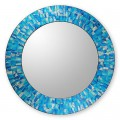 Handcrafted Glass Tile Round Wall Mirror