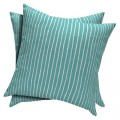 Turquoise Stripe 2-Piece Outdoor Toss Pillow Set