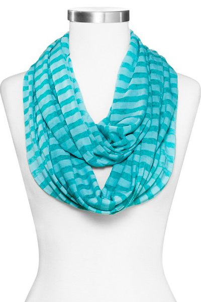 Turquoise Striped Infinity Scarf