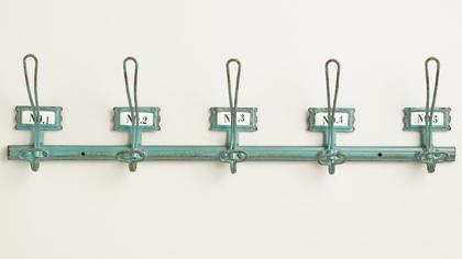 Aqua Metal Industrial 5-Hook Wall Storage