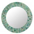 Aqua Mosaic Wood Glass Mirror