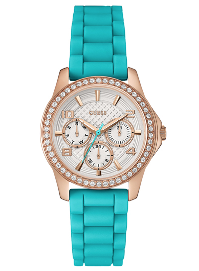 Turquoise and Rose Gold-Tone Polished Glamour Watch