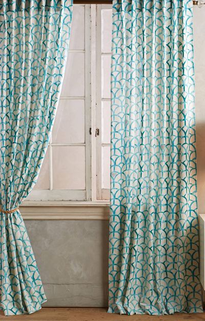 This Aqua Wakefield Curtain will transform your space. Made of cotton ...