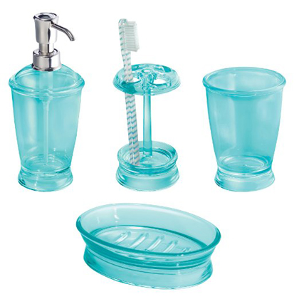 Aruba blue franklin 4 piece bath accessories set for Aqua blue bathroom accessories