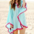 Blue Oversize Pom Pom Cloak Chiffon Dress