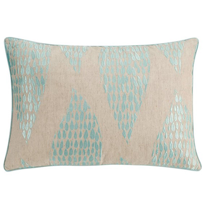 Gingka Embroidered Cotton & Linen Accent Pillow