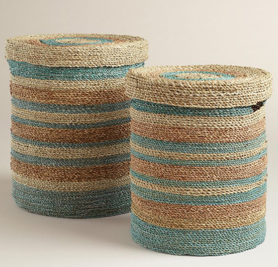 Green and Blue Round Sea Grass Sarah Baskets with Lid