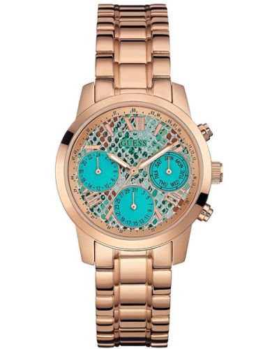 Guess Turquoise and Rose Gold-Tone Feminine Classic Sport Watch
