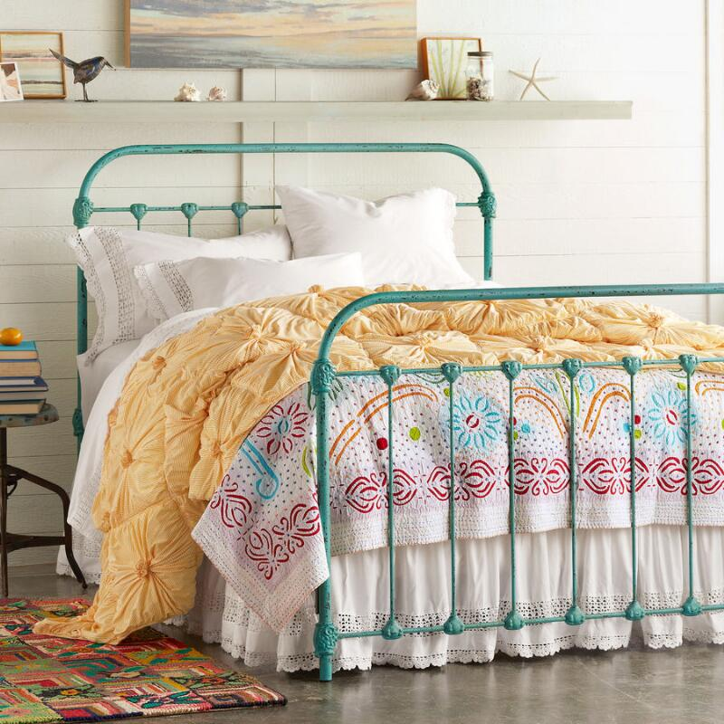 Beds and headboards everything turquoise for Turquoise bed frame
