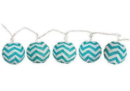 Aqua Chevron Ball String Lights