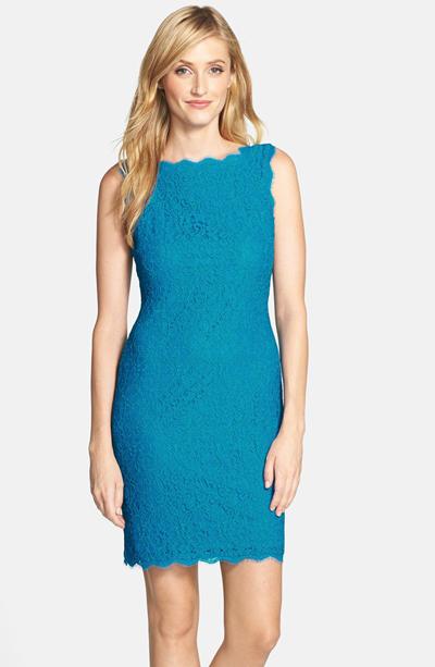 Boatneck Lace Sheath Dress
