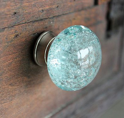 Glass drawer knobs everything turquoise for Turquoise cabinet pulls