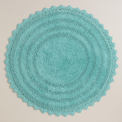 Round Porcelain Blue Bath Mat