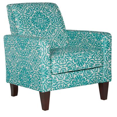 Sutton Modern Damask Turquoise Blue Arm Chair
