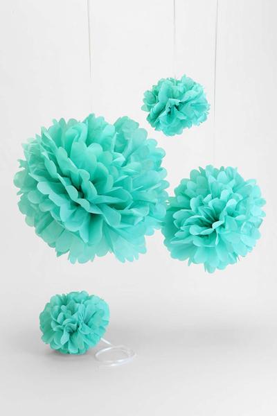 Turquoise Tissue Paper Pompom Set