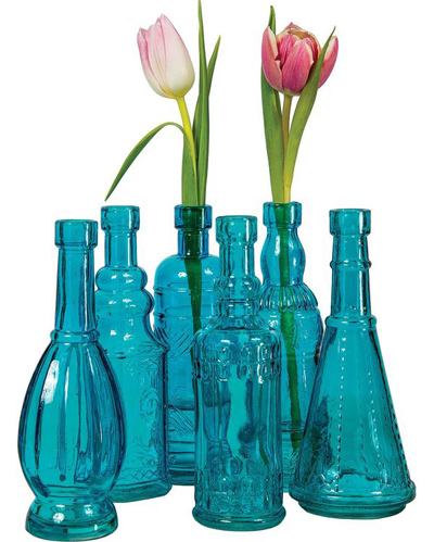 Turquoise Vintage Painted Glass Bottles