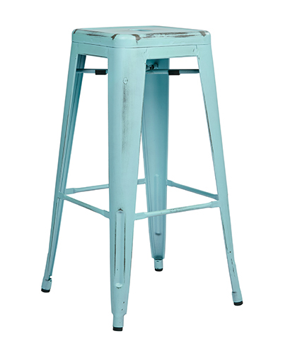 Bristow Antique Sky Blue Metal Barstool
