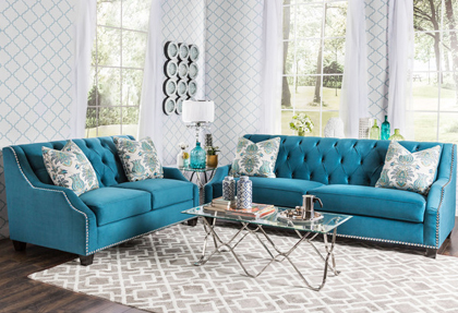 Furniture of America Elsira Premium Velvet 2-piece Cerulean Blue Sofa Set - Sofas Everything Turquoise Page 2