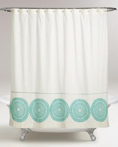 Porcelain Blue Lydia Medallion Shower Curtain