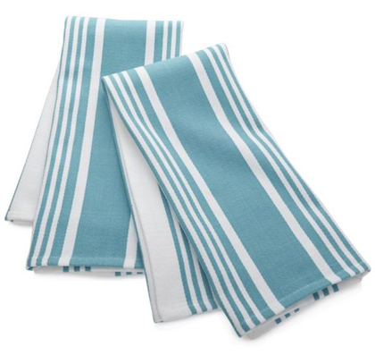 Set of 2 Cuisine Stripe Aqua Dish Towels