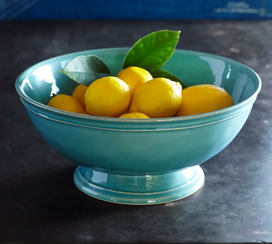 Turquoise Cambria Footed Serve Bowl