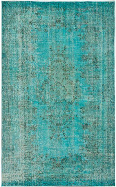Turquoise Turkish Overdyed Rug