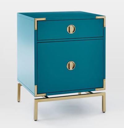 Blue Teal Malone Campaign Nightstand