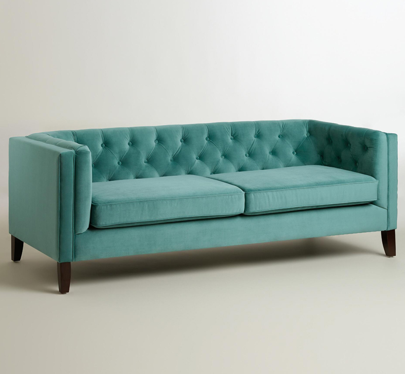teal kendall velvet sofa everything turquoise. Black Bedroom Furniture Sets. Home Design Ideas