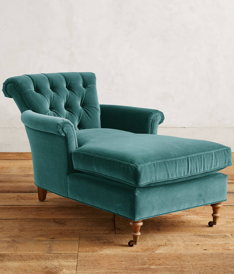 Velvet chaise lounge chair furniture gt living room for Blue chaise lounge