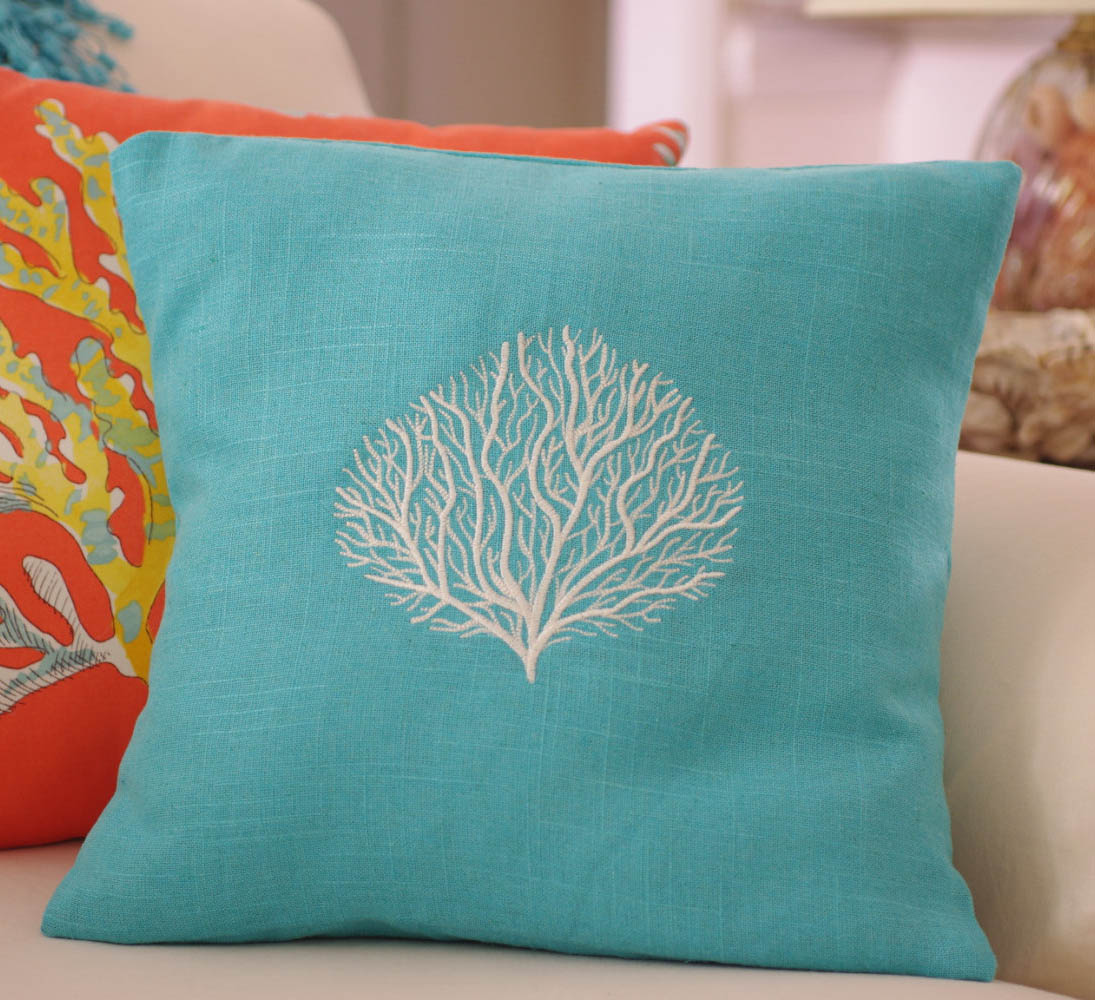 turquoise linen machine embroidered coral throw pillow