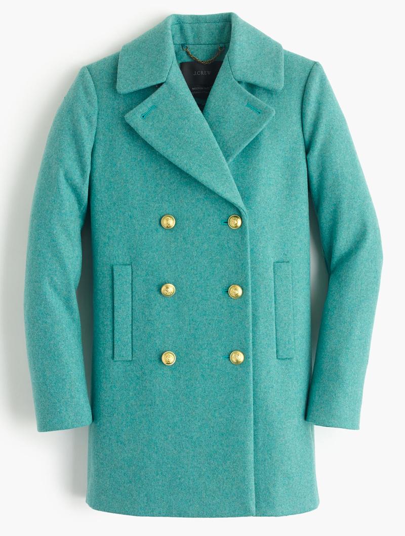 Turquoise Wool Melton Peacoat