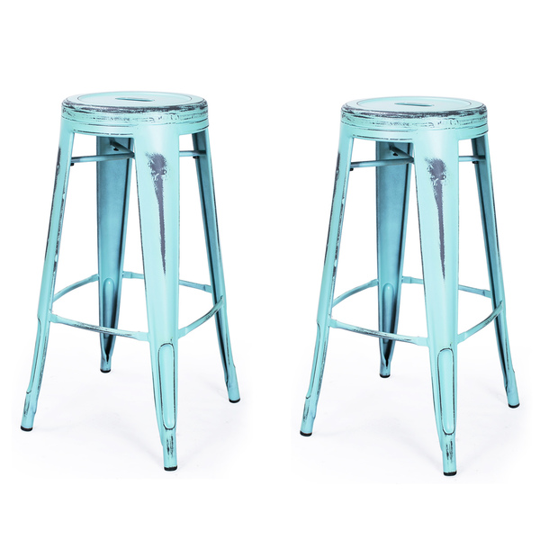 Vintage Inspired Metal Counter Stool Set Everything Turquoise