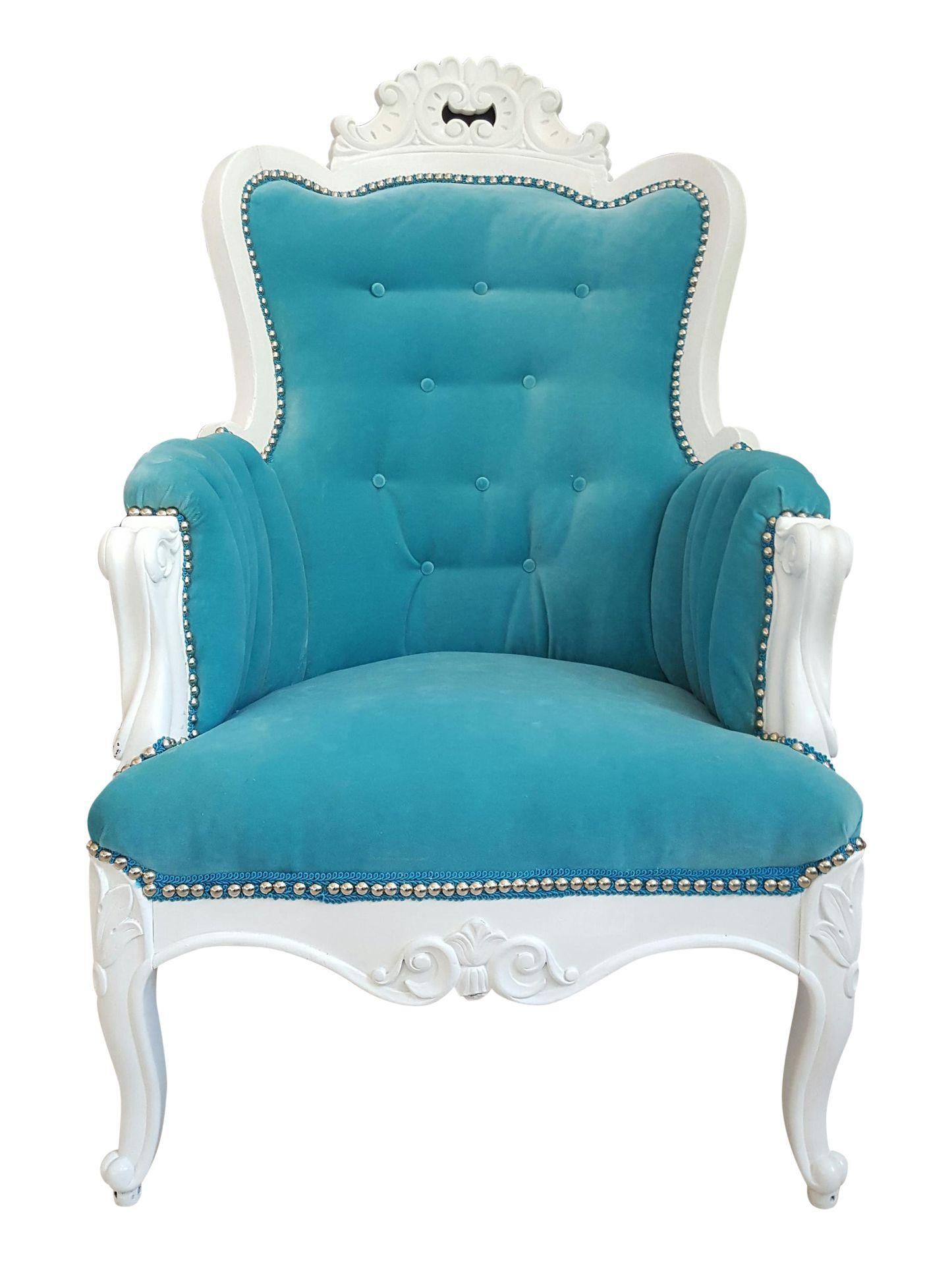 Antique Turquoise Velvet Accent Chair Everything Turquoise