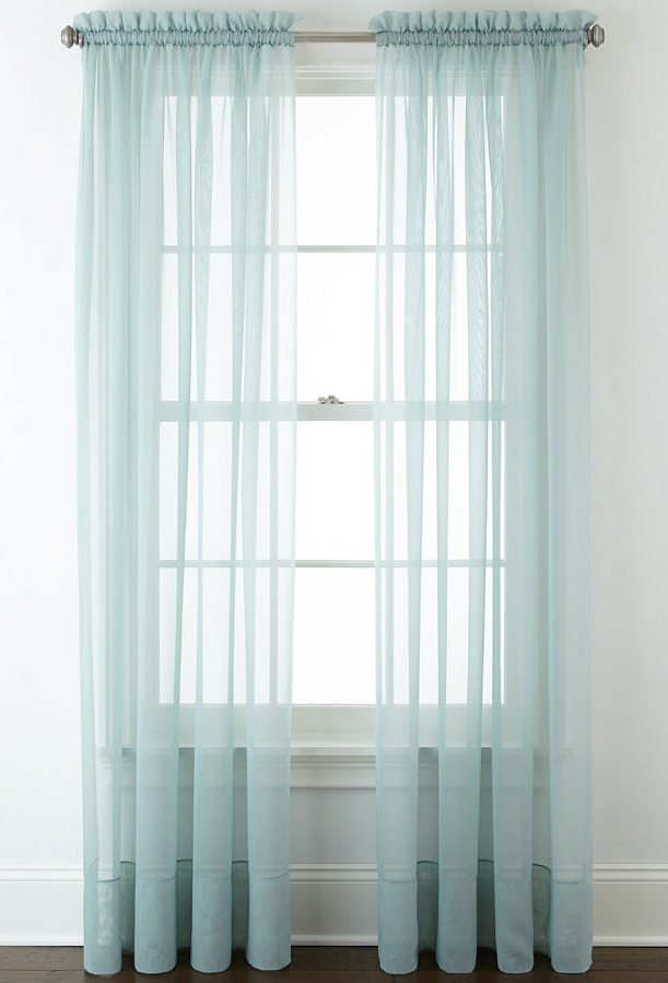 Aqua Lisette Rod-Pocket Sheer Panel