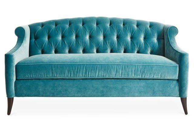 Calypso Velvet Coco Tufted Sofa