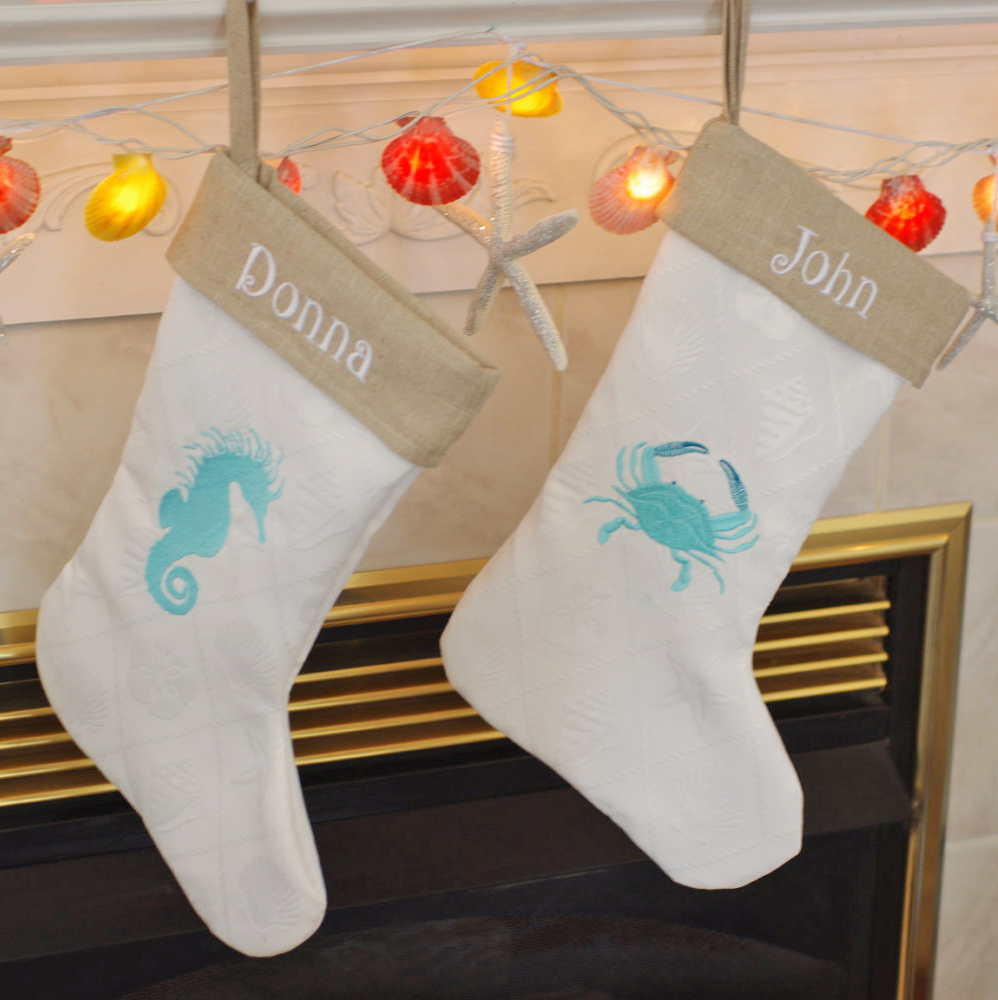 Personalized Beach Cottage Christmas Stocking