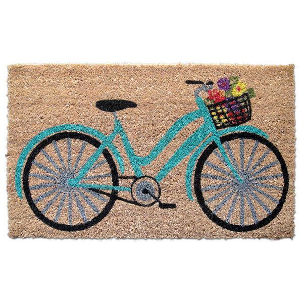 Teal Floral Bicycle Doormat