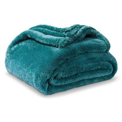 Teal Fuzzy Throw