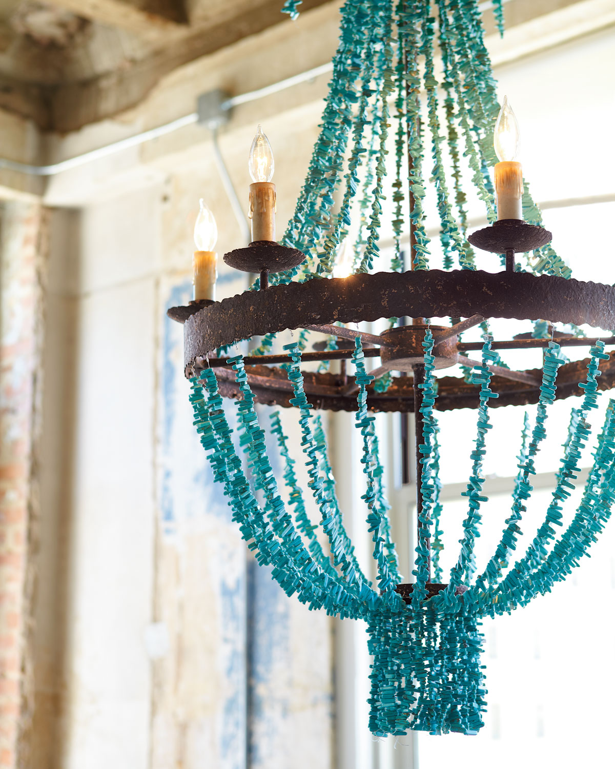 Turquoise Beads Six-Light Chandelier
