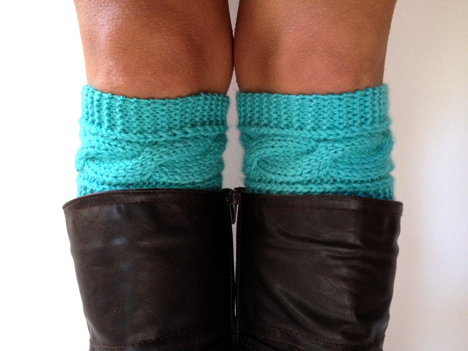 Turquoise Cable Knit Boot Cuffs