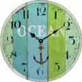 Blue Green Stripe Wooden Clock