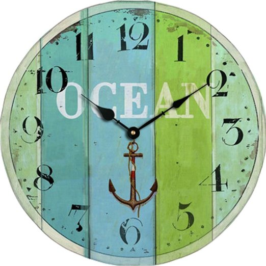 Blue Green Stripe Wooden Clock