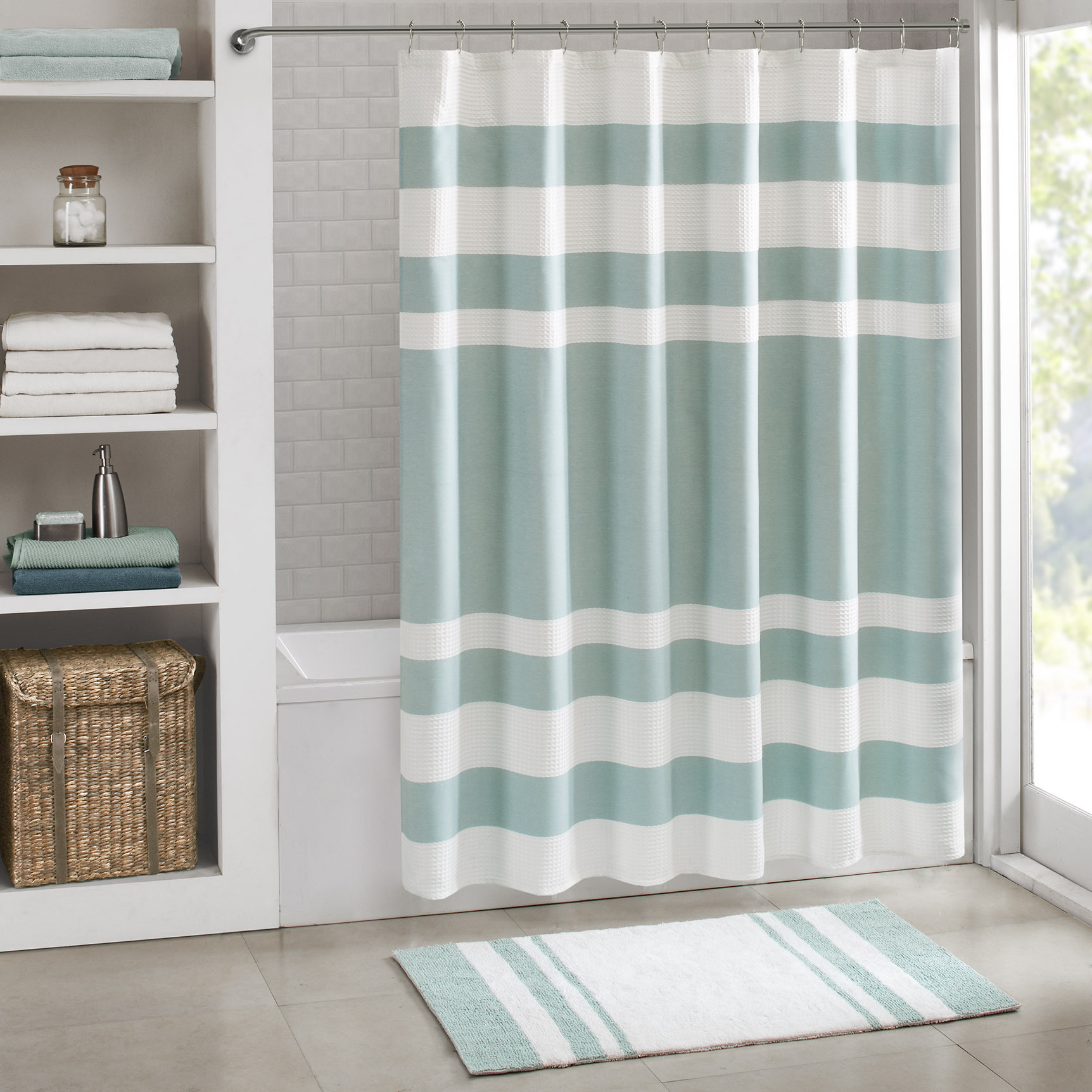 Whale shower curtain - Madison Park Spa Waffle Shower Curtain Whale Shower Curtain