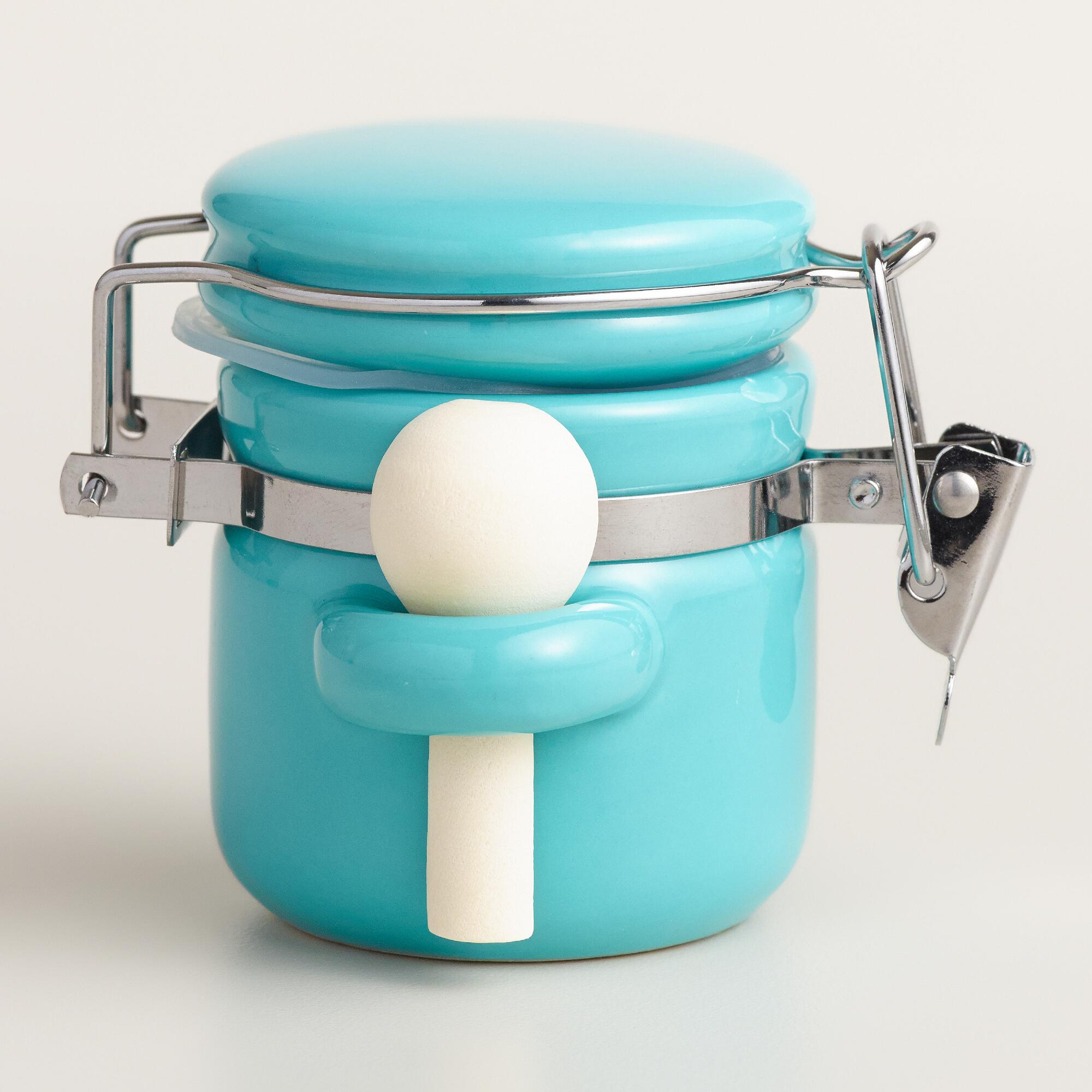 Mini Aqua Ceramic Canisters with Spoons | Everything Turquoise